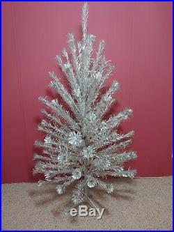 Vintage Silver Mid-Century 6 ft Peco Pom-Pom Christmas Tree(90+)Branches Nice