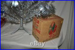 Vintage Silver PomPom Christmas Tree With Color Wheel Light Ornaments Included