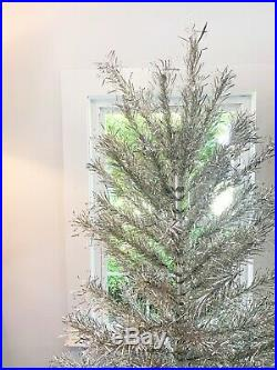 Vintage Silver ROTATING Christmas Tree with color wheel