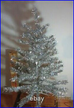 Vintage Silver VINYL aluminum Tree 4' Ft 48 57 branche Christmas NOMA with Box