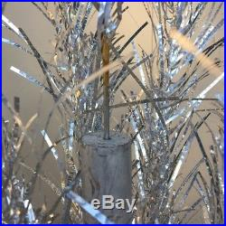 Vintage Sparkler Pom Pom 6 Ft Silver Aluminum Christmas Tree 68 Branches
