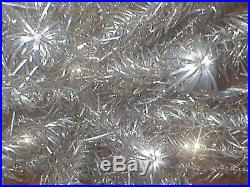 Vintage Sparkler Pom Pom 6 Ft Silver Aluminum Christmas Tree 91 Branches M-691