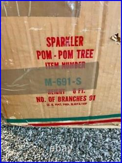 Vintage Sparkler Pom Pom Aluminum 7' Christmas Tree 91 Branches No Stand M-691-s