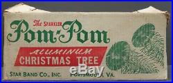 Vintage Sparkler Pom Pom Aluminum Silver Christmas Tree 4' 54 branches Star Band