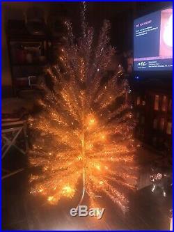 Vintage Sparkler Pom Pom Silver Aluminum Christmas Tree 120 Branches 75 Tall