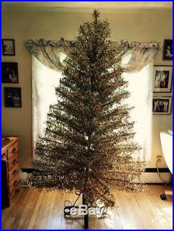 Vintage Starlite Revlis 7' silver and gold Christmas tinsel tree! One of kind