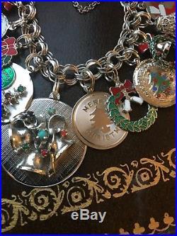 Vintage Sterling Silver Christmas Charm Bracelet Trees Wreaths Bells