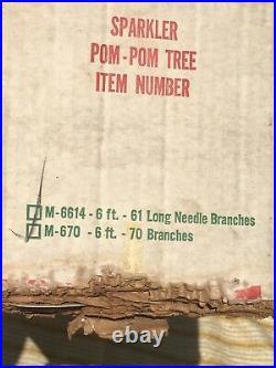 Vintage The Sparkler Pom Pom Aluminum 6ft Christmas Tree 74 Branches Silver MCM