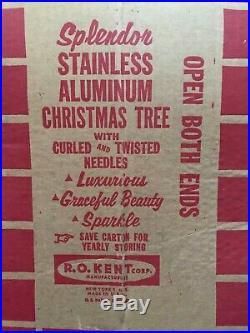 Vintage The Splendor Pom Pom Silver Aluminum Christmas Tree 6 FT 100 Branches