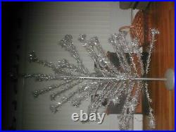 Vintage aluminum 6 ft. Pom pom silver Christmas tree with stand 45 Brances