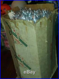Vintage aluminum 8 ft silver Christmas tree Pompom Taper with 209 Branches Rare
