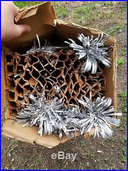 Vintage set x 2 Timberland pom pom silver aluminum Christmas trees made in usa