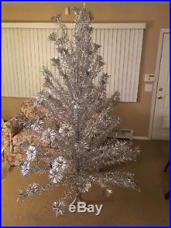 Vintage Silver Aluminum Christmas Tree Pom Pom 106 Branches Silver