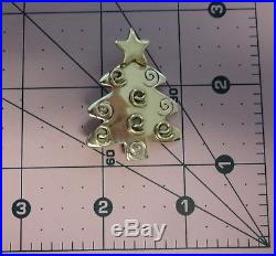 Vntg Signed HOB Mexico Sterling Silver Christmas Tree Gold Ornaments Pin Brooch