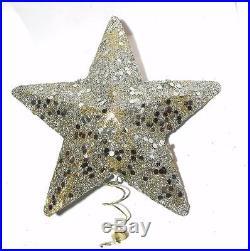 Vtg 1950's Molded Cardboard Silver Glitter Xmas Tree Topper Star, Orig Label