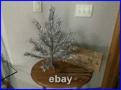 Vtg 2 Ft Silver Aluminum Xmas Tree