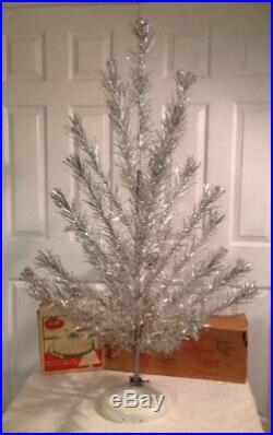 Vtg 4 Ft Craft House Aluminum Silver Xmas Tree Penetray Revolving Stand Nice