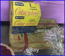 Vtg 6' Evergleam Silver Aluminum Pom Pom Christmas Tree 94 Branch+ Bonuses