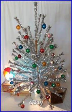 Vtg 6 Evergleam Silver Aluminum Pom Pom Christmas Tree 94 Branch