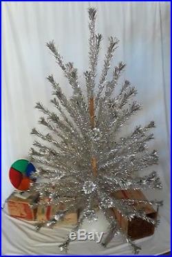 Vtg 6' Evergleam Silver Aluminum Pom Pom Christmas Tree 94 Branch Color Wheel