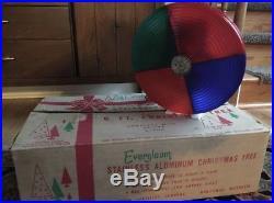 Vtg 6' Evergleam Silver Aluminum Pom Pom Christmas Tree 94 Branch+ Color Wheel