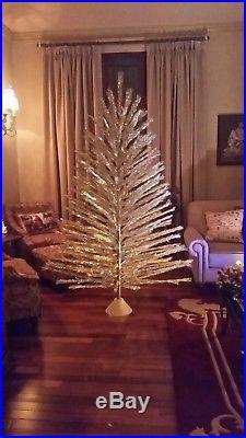 vtg 7 ft taper tree silver alum christmas tree incl color wheelrotating music - Rotating Color Wheel For Christmas Tree