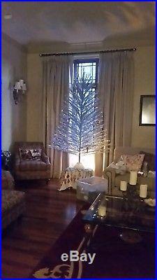 Vtg 7 FT TAPER TREE Silver Alum Christmas Tree Incl Color Wheel/Rotating Music