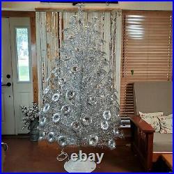 Vtg 7' Keystone Aluminum Royal Pine Pom Pom Christmas Tree Rotating Musical Base