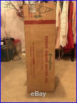 Vtg 7 ft Silver Aluminum 103 Branch Evergleam Pom Pom Christmas Tree Box & Stand