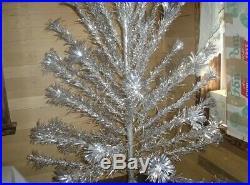 Vtg Aluminum Christmas Tree 6 55 Sparkler Pom Pom Mcm Mid Century Silver New