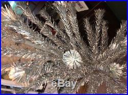 Vtg Aluminum Christmas Tree Star Band Pom Pom Sparkler 6 Ft 70 Branches Silver