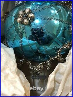 Vtg Antique 1930 Silver Wire Wrapped Blue Mercury Glass Christmas Tree Topper