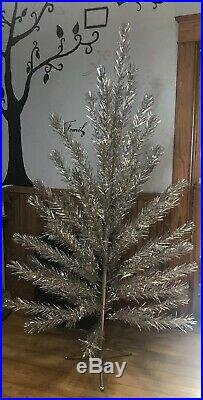 Vtg Christmas Mid Century SILVER GLOW 6 1/2 Christmas Tree 60 Branches