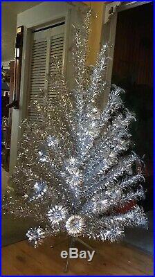 Vtg Christmas Mid Century SILVER GLOW 6ft. Aluminum Pom Pom Tree 92 Branches