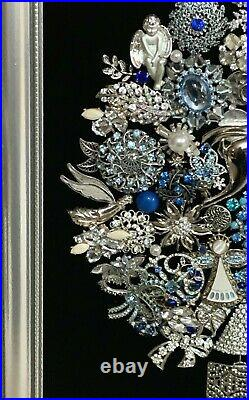 Vtg Framed Jewelry Art Christmas Tree in Silver & Blue Colors Silver Wood Frame