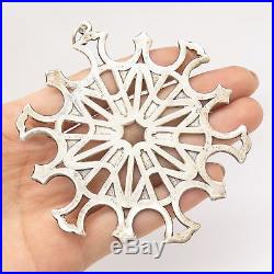 Vtg MMA 925 Silver Large Snowflake Christmas Tree Decoration