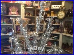 Vtg Mid Century 6.5' U. S. Silver Tree Aluminum Christmas Tree 44 Branches