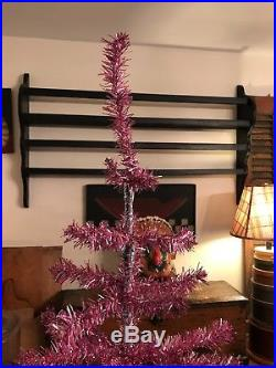 Vtg Pink Silver Tinsel Aluminum Feather Style Christmas Tree 6 Tall