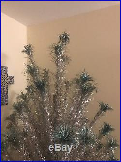 Vtg. RARE 7.5 Ft Silver Aluminum 111 Branch Tinsel Christmas Tree + Stand/Box