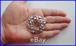 Vtg Signed Danecraft Sterling Silver Christmas Tree Oak Acorn Wreath Pin Brooch