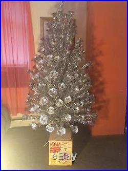 Vtg Silver Aluminum Christmas Tree 7 1/2 ft Pom Pom 164 Branches The BEST EVER