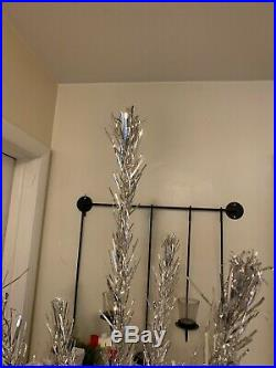 Vtg Spark-L-Ite 7 ft Silver Aluminum Branch Christmas Tree Box Stand Spark Lite