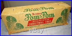 Vtg Sparkler Pom-Pom Aluminum Christmas Tree 6 Foot Silver M-655 with Box
