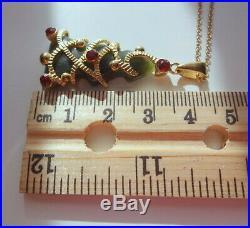 Vtg Sterling Silver 14k Gold Vermeil Christmas Tree Jade Natural Gem Necklace