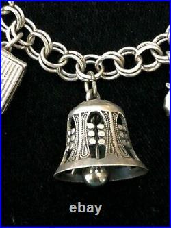 Vtg Sterling Silver Filigree Bell Fly Whistle X'mas tree Charm Bracelet 7.25