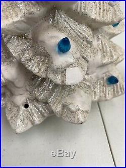 White Ceramic Christmas Tree 17 Tall Silver Glitter Trim Lighted Jaimy
